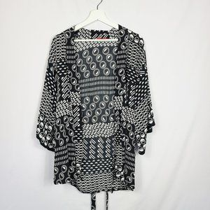 Josie Natori Short Geometric Kimono Robe